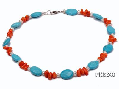 Natural white freshwater pearl with oval carved blue turquoise and orange coral necklace FNS248 Image 1