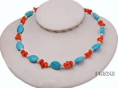 Natural white freshwater pearl with oval carved blue turquoise and orange coral necklace FNS248 Image 2