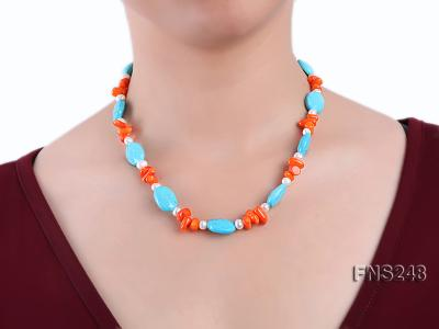 Natural white freshwater pearl with oval carved blue turquoise and orange coral necklace FNS248 Image 4