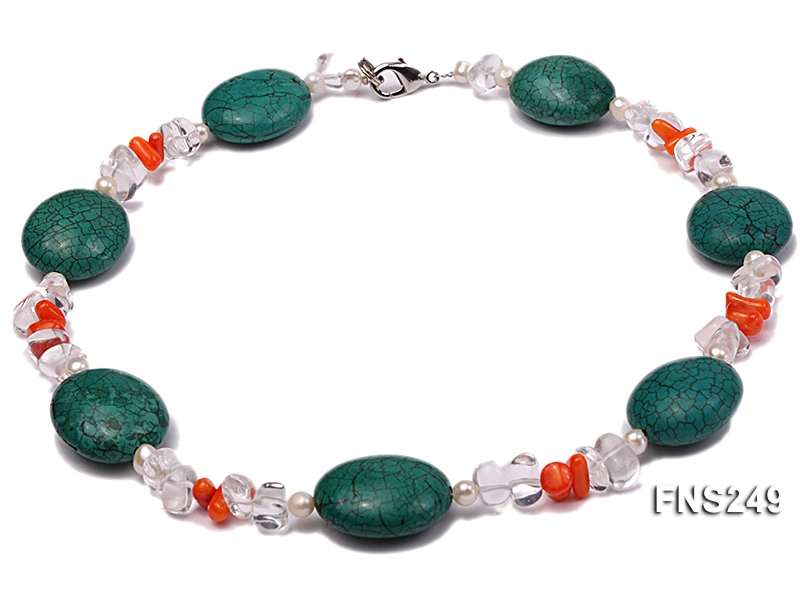 natural white freshwater pearl with natural white crystal and green turquoise orange coral necklace big Image 1