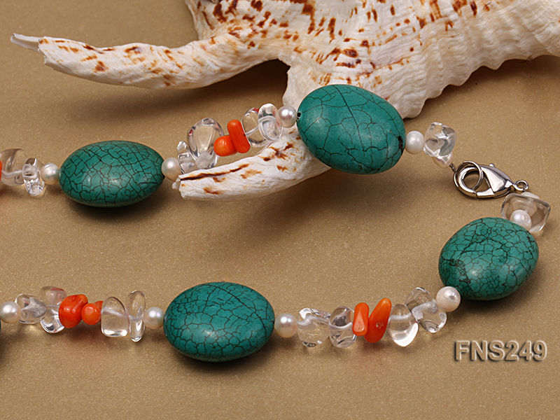 natural white freshwater pearl with natural white crystal and green turquoise orange coral necklace big Image 2