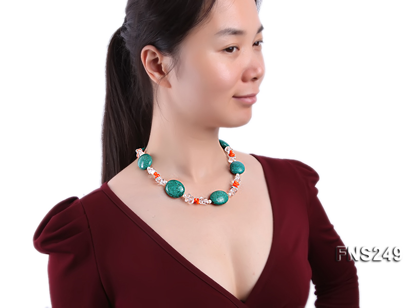 natural white freshwater pearl with natural white crystal and green turquoise orange coral necklace big Image 3