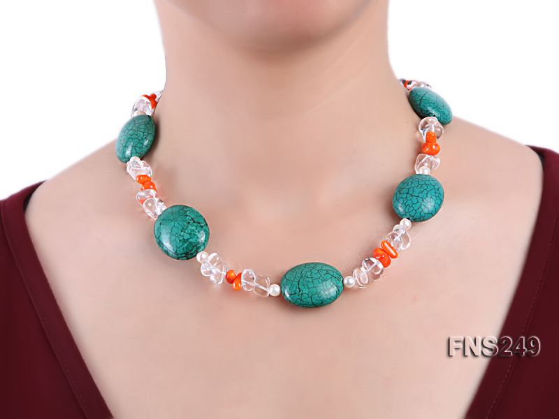 natural white freshwater pearl with natural white crystal and green turquoise orange coral necklace big Image 4