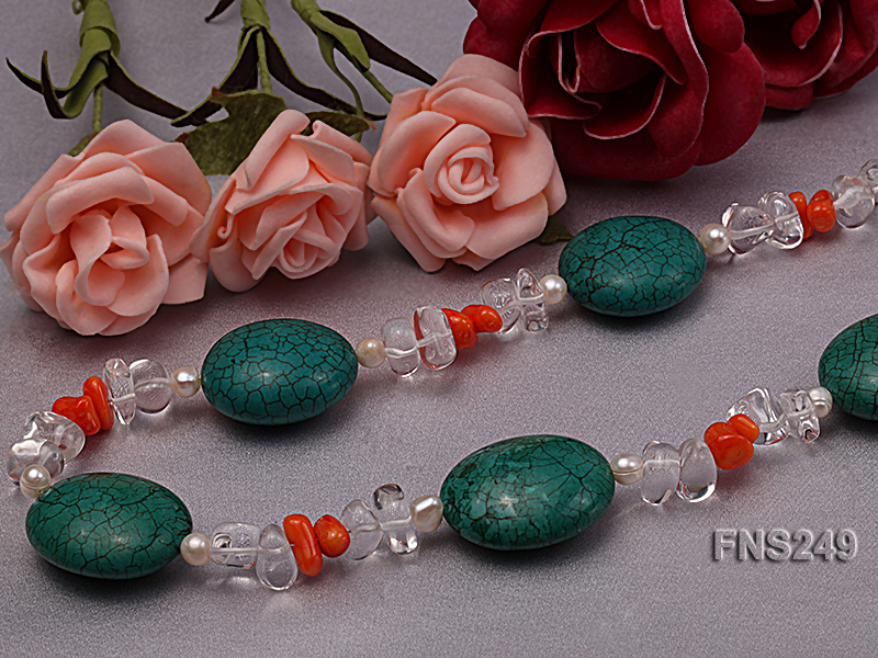 natural white freshwater pearl with natural white crystal and green turquoise orange coral necklace big Image 5