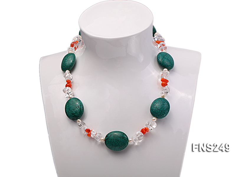 natural white freshwater pearl with natural white crystal and green turquoise orange coral necklace big Image 6