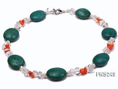 natural white freshwater pearl with natural white crystal and green turquoise orange coral necklace FNS249 Image 1