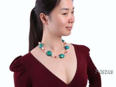natural white freshwater pearl with natural white crystal and green turquoise orange coral necklace FNS249 Image 3