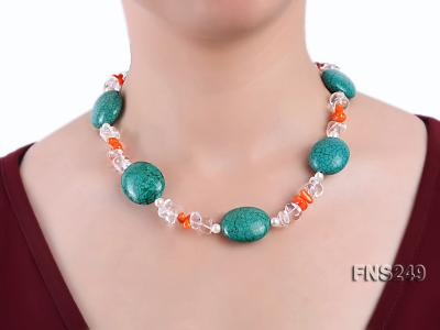 natural white freshwater pearl with natural white crystal and green turquoise orange coral necklace FNS249 Image 4
