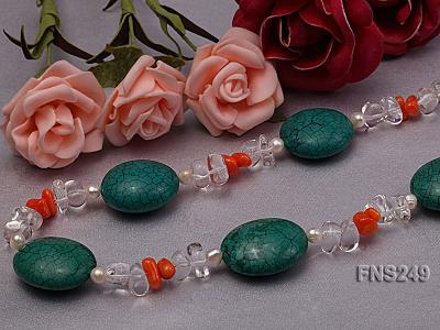 natural white freshwater pearl with natural white crystal and green turquoise orange coral necklace FNS249 Image 5