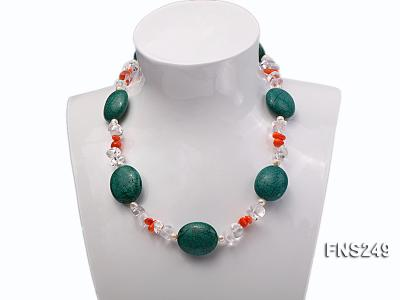 natural white freshwater pearl with natural white crystal and green turquoise orange coral necklace FNS249 Image 6
