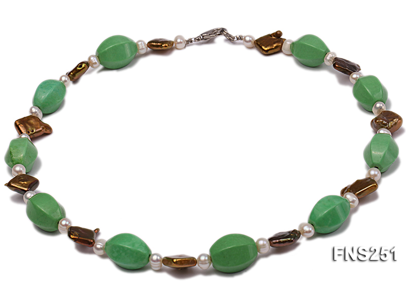 13*18mm Green Turquoise with Natural White Freshwater Pearl necklace big Image 1
