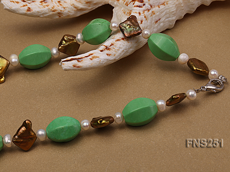 13*18mm Green Turquoise with Natural White Freshwater Pearl necklace big Image 2