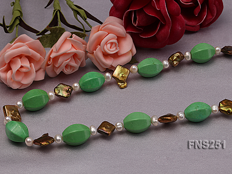 13*18mm Green Turquoise with Natural White Freshwater Pearl necklace big Image 4