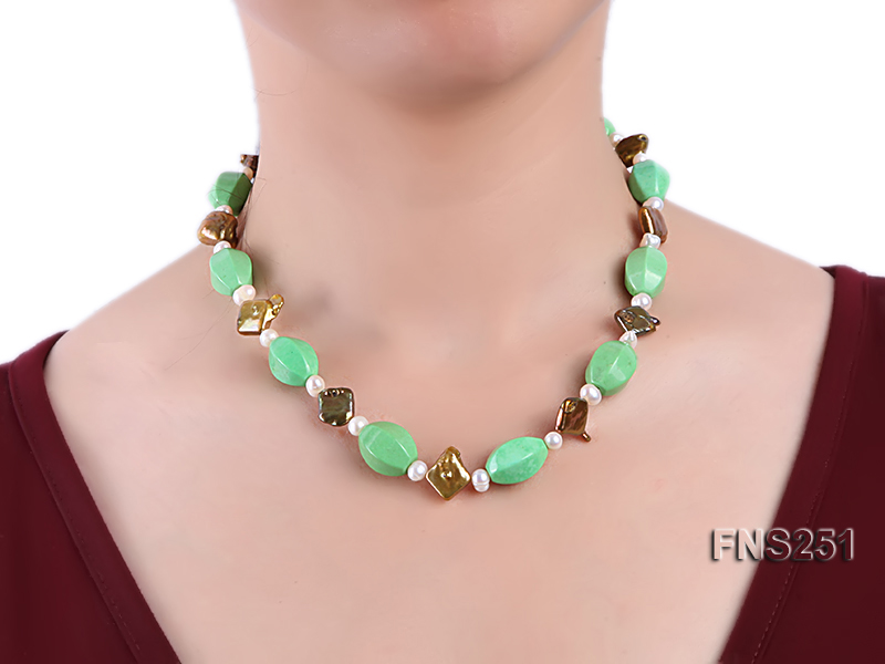 13*18mm Green Turquoise with Natural White Freshwater Pearl necklace big Image 5