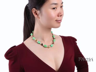13*18mm Green Turquoise with Natural White Freshwater Pearl necklace FNS251 Image 3