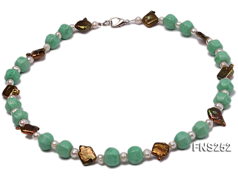 Natural white freshwater pearl with green turquoise and irregular pealrs necklace big Image 1