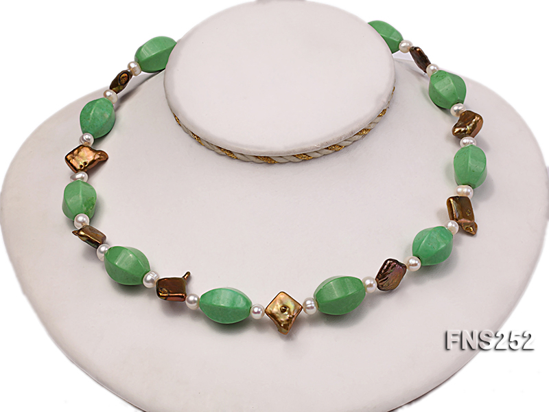 Natural white freshwater pearl with green turquoise and irregular pealrs necklace big Image 2