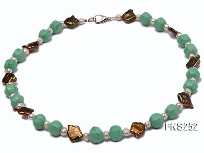 Natural white freshwater pearl with green turquoise and irregular pealrs necklace FNS252 Image 1