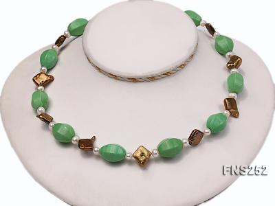 Natural white freshwater pearl with green turquoise and irregular pealrs necklace FNS252 Image 2