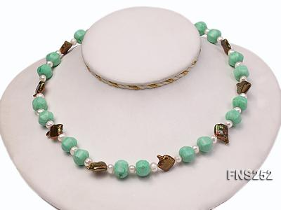 Natural white freshwater pearl with green turquoise and irregular pealrs necklace FNS252 Image 5