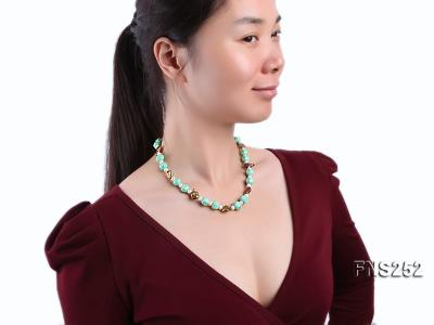 Natural white freshwater pearl with green turquoise and irregular pealrs necklace FNS252 Image 6