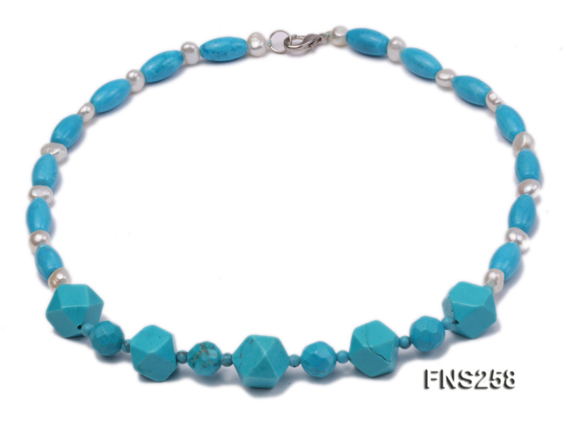 8*15mm rice blue turquoise with natural white freshwater pearl necklace big Image 1