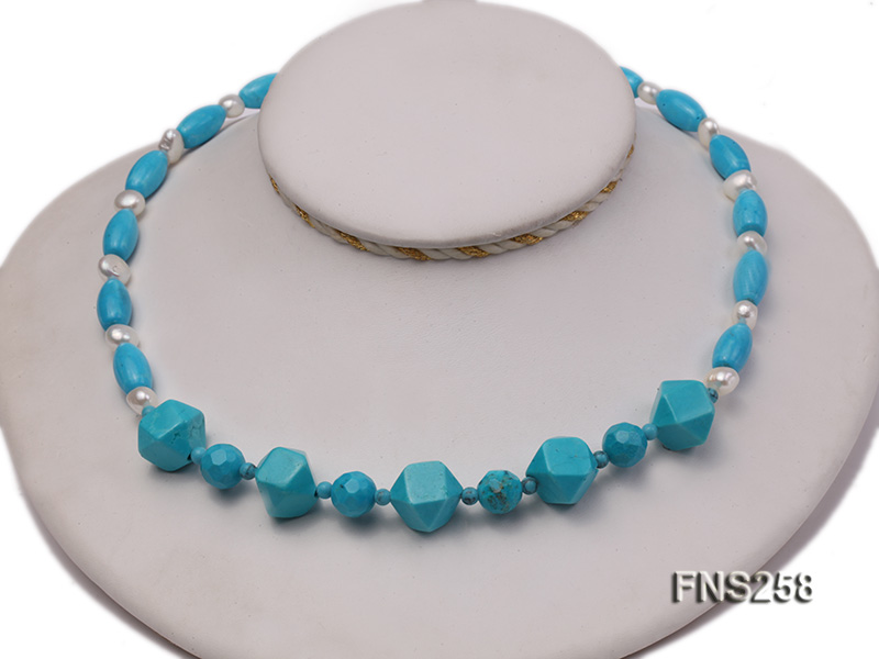 8*15mm rice blue turquoise with natural white freshwater pearl necklace big Image 2