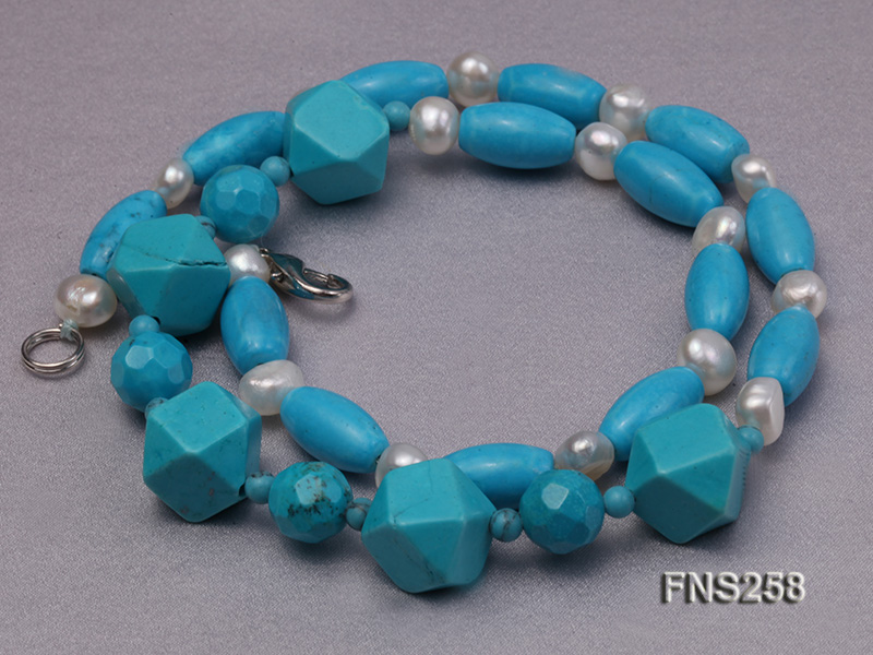 8*15mm rice blue turquoise with natural white freshwater pearl necklace big Image 3
