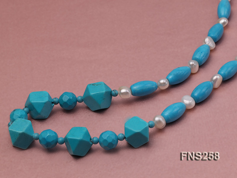 8*15mm rice blue turquoise with natural white freshwater pearl necklace big Image 4
