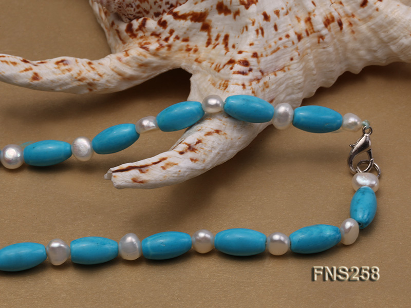 8*15mm rice blue turquoise with natural white freshwater pearl necklace big Image 5