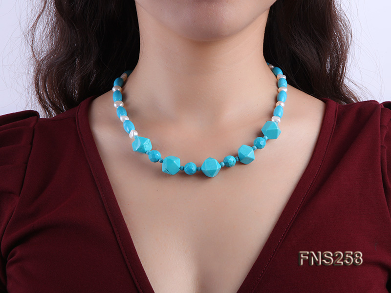 8*15mm rice blue turquoise with natural white freshwater pearl necklace big Image 6