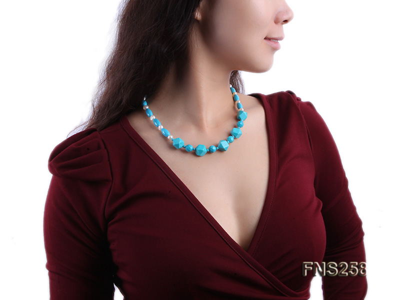 8*15mm rice blue turquoise with natural white freshwater pearl necklace big Image 7