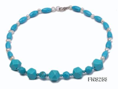 8*15mm rice blue turquoise with natural white freshwater pearl necklace FNS258 Image 1