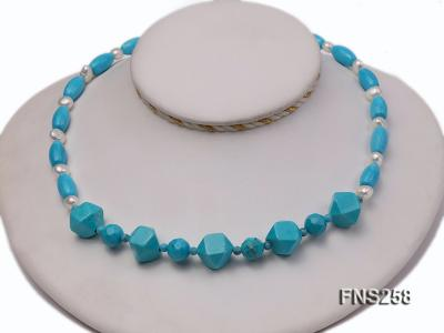 8*15mm rice blue turquoise with natural white freshwater pearl necklace FNS258 Image 2
