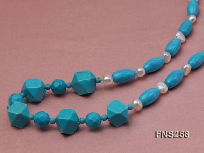 8*15mm rice blue turquoise with natural white freshwater pearl necklace FNS258 Image 4