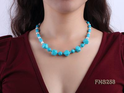 8*15mm rice blue turquoise with natural white freshwater pearl necklace FNS258 Image 6