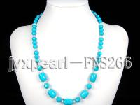 8mm round blue turquoise with natural white freshwater pearl necklace FNS266