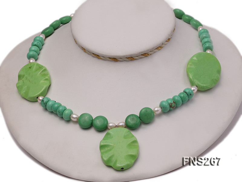 green turquoise with natural white freshwater pearl single strand necklace big Image 1