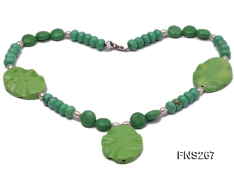 green turquoise with natural white freshwater pearl single strand necklace big Image 2
