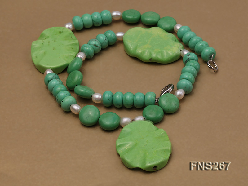 green turquoise with natural white freshwater pearl single strand necklace big Image 3
