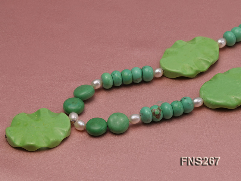 green turquoise with natural white freshwater pearl single strand necklace big Image 4