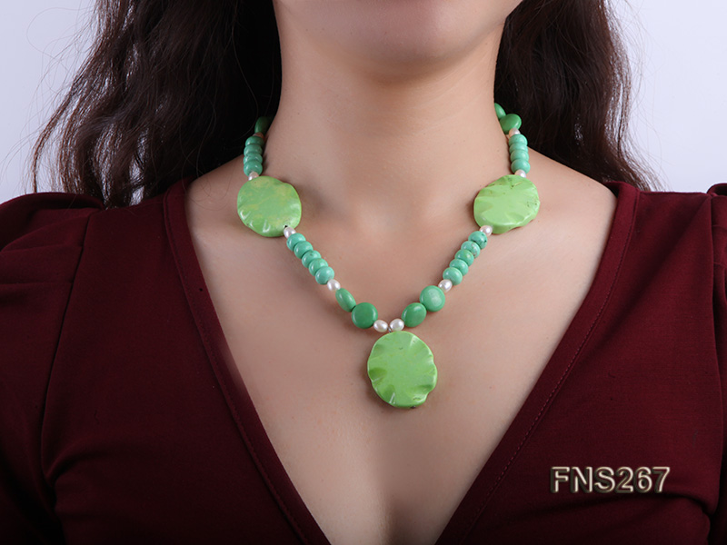 green turquoise with natural white freshwater pearl single strand necklace big Image 5