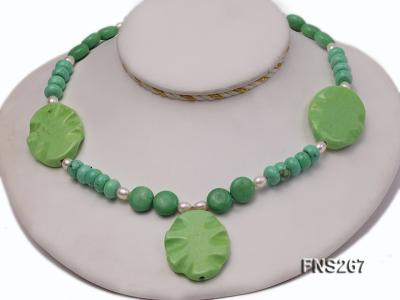 green turquoise with natural white freshwater pearl single strand necklace FNS267 Image 1