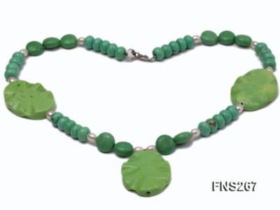 green turquoise with natural white freshwater pearl single strand necklace FNS267 Image 2