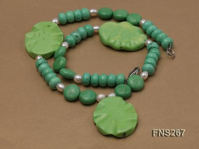 green turquoise with natural white freshwater pearl single strand necklace FNS267 Image 3