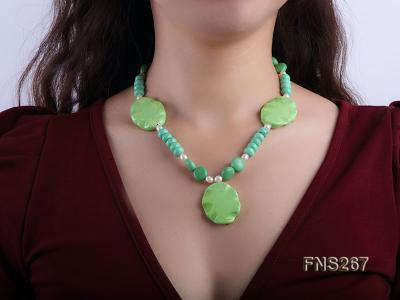 green turquoise with natural white freshwater pearl single strand necklace FNS267 Image 5
