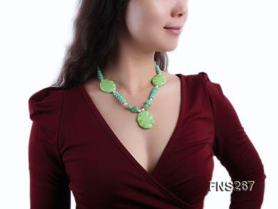 green turquoise with natural white freshwater pearl single strand necklace FNS267 Image 6