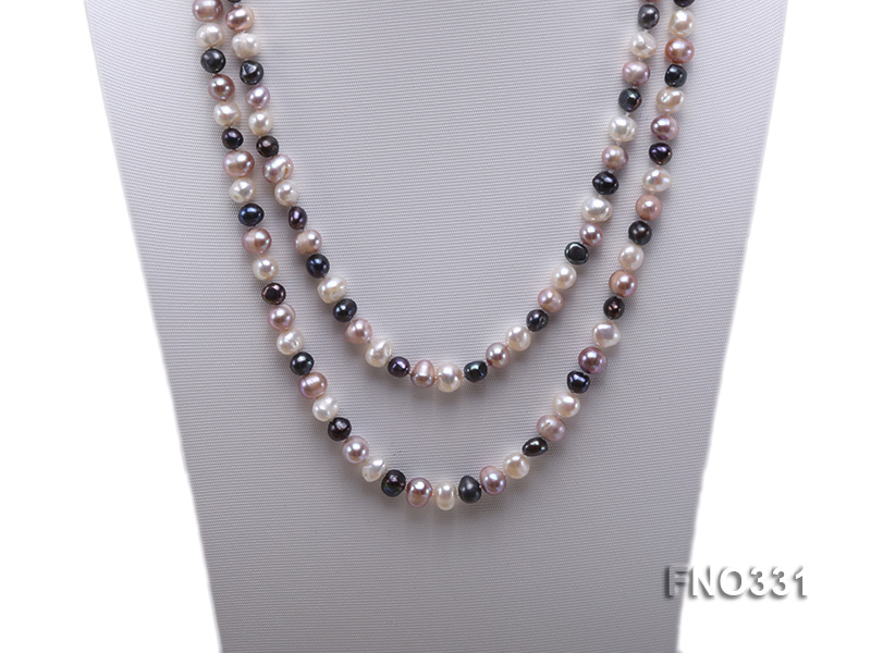 8-9mm multicolor round freshwater pearl necklace big Image 2