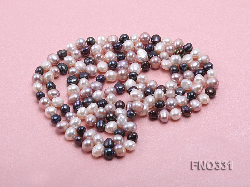 8-9mm multicolor round freshwater pearl necklace big Image 4