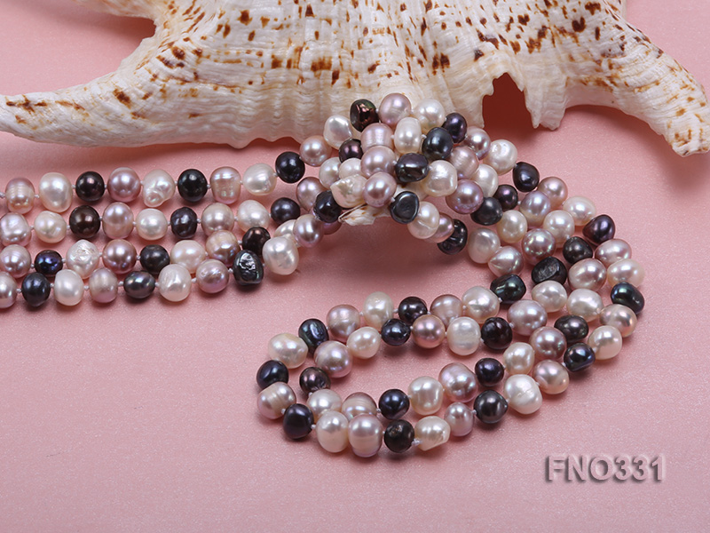 8-9mm multicolor round freshwater pearl necklace big Image 5